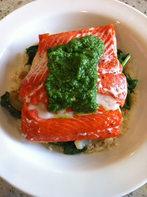 Roasted salmon with cilantro pesto