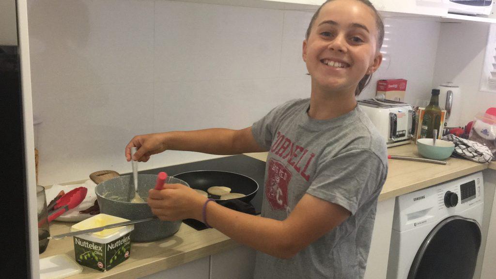 Katie cooks pancakes