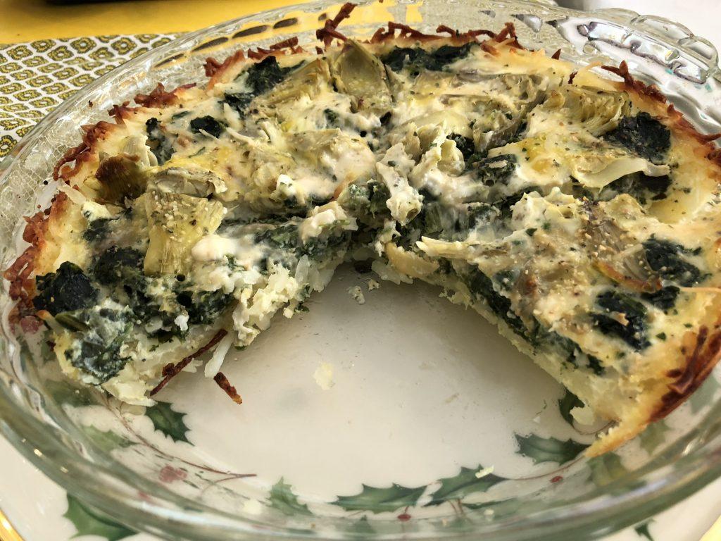 Potato crust quiche spinach
